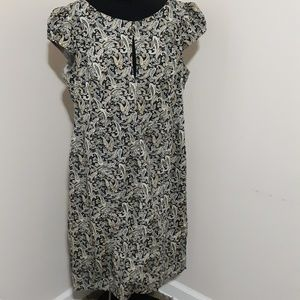 eShakti Blue Paisley Sheath Capped Sleeve Dress 1X